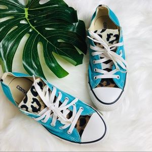 CONVERSE teal chucks with leapord print sneakers